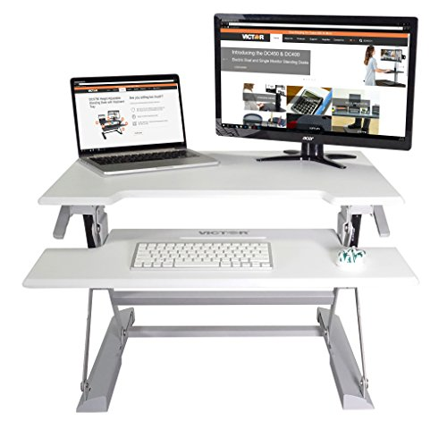 - Victor DCX710W High Rise Height Adjustable Standing Desk with Keyboard Tray (White)