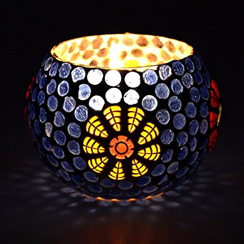 CraftVatika Mosaic Glass Tealight Candle Holders Handcrafted Design | Decorative Candle Holders For Home Office Living Room Decoration (Model No.306) by CraftVatika