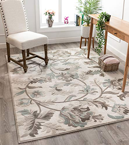 Well Woven Lilla Cream/Beige Floral Paisley Pattern Area Rug 8x10 (7'10