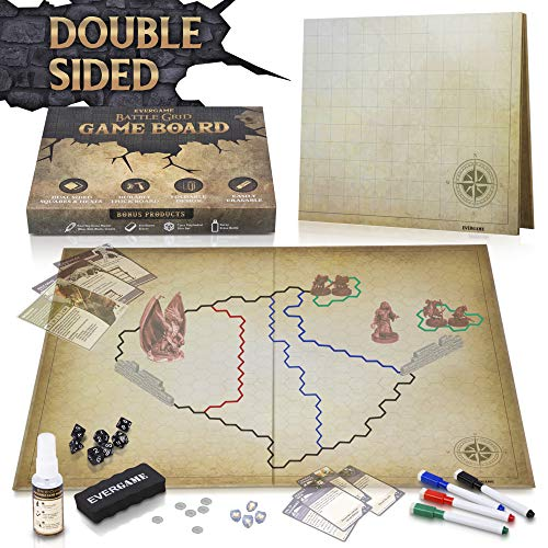 EVERGAME Reusable DND Mat for Usage with Dungeons and Dragons Board Game, DND Miniatures, d&d Starter Kits, dm Screen, Gaming mats, Battle mat, DND Figurines - Markers, Eraser, & Dice Set Included (Battle Masters Board Game)