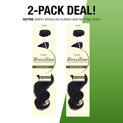 2-PACK DEALS! Outre Simply Unprocessed Brazilian Human Hair Weave Natural Body (12