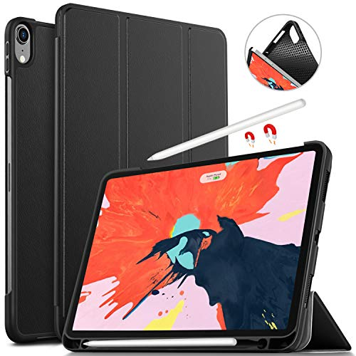 IVSO Case for ipad pro 12.9 2018, Ultra Lightweight Trifold Smart [Rubber Cover Case] [Auto Sleep/Wake Function] [Apple Pencil Charging Supported] Fit for Apple ipad pro 12.9 2018 Tablet (Black)