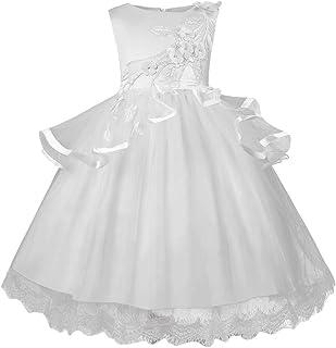 Jimmackey- Bambina Ragazza Fiore Ricamo Vestito Netto Filato Principessa Damigella d'Onore Abito Dress