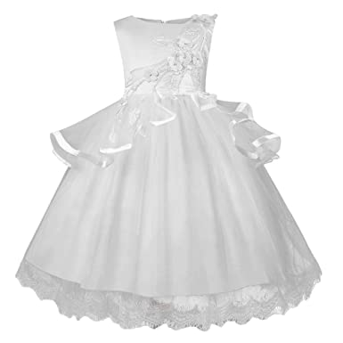 3269235901b44 ❤️Filles Robe PANPANY Fille Jupe de Robe brodée de mariée Pettiskirt de fête  Fleurs 3D