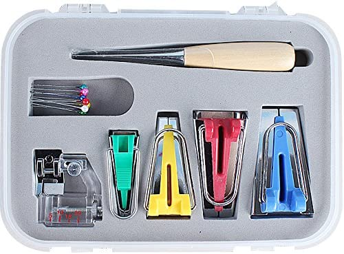 Bias Tape Maker Tool Kit Set with Awl and Binder Foot 6mm//12mm//18mm//25mm DIY Sewing Bias Tape Makers for Quilt Binding