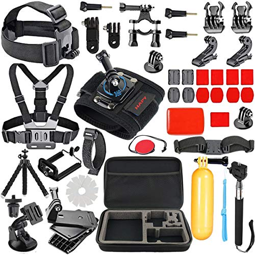 HAPY Gopro Accessories kit for GoPro Hero 6,5 Black, Hero Session,GoPro Fusion,HERO (2018),HERO 6,5,4,3, Head Strap Camera Mount,Chest Mount Harness,Carrying Case,Action Camera (3 Point Mount Kit)