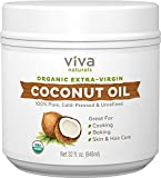 natural coconut oil for hair - Viva Naturals Organic Extra Virgin Coconut Oil, 32 Ounce