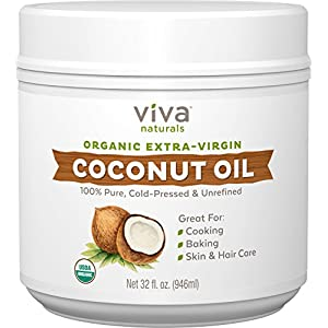 Gut Health Shop 51h-%2Bp0KcbL._SS300_ Viva Naturals Organic Extra Virgin Coconut Oil, 32 Ounce