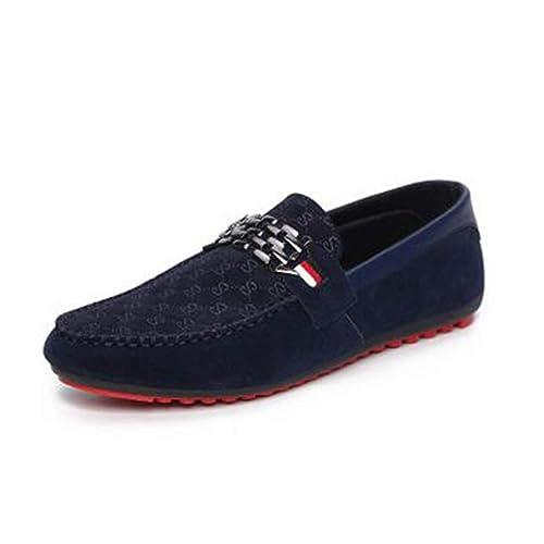 Hombres Mocasines Zapatos de Cuero Slip-on conducción Casual Zapatos Planos: Amazon.es: Zapatos y complementos