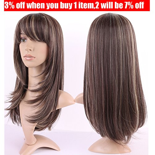 S-noilite Synthetic Hair Wig Long Hair Curly Straight Heat Resistant Hair Halloween Costume Full Head Wig With Bangs (Straight, 21