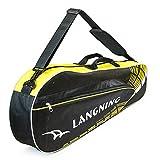 Adjustable Shoulder Strap Badminton Racket Cover Badminton Racket Bag Tennis Bag (3 Racquet), Yellow