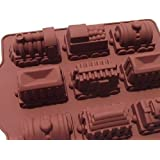 Allforhome 9 Cavities Train Molds Flexible Silicone Baking Cake Mold Chocalate Mold Train Design Handmade Soap Moulds