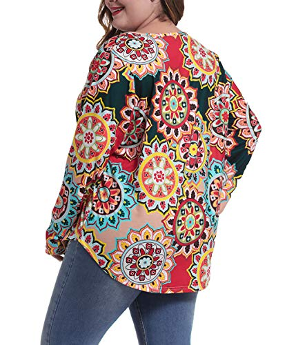 caidyny Plus Size Top Vintage T Shirts Long Sleeve Casual Plus Size Tunic Blouse Shirt