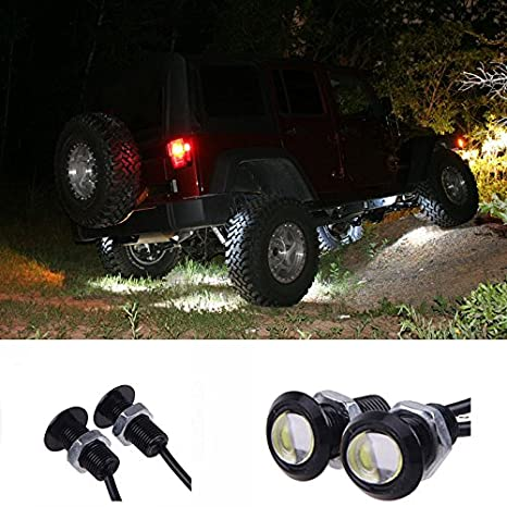 YUK 10x Eagle Eye DRL LED Rock Lights For JEEP ATV Off Road Truck Under Trail Rig Lights (White)