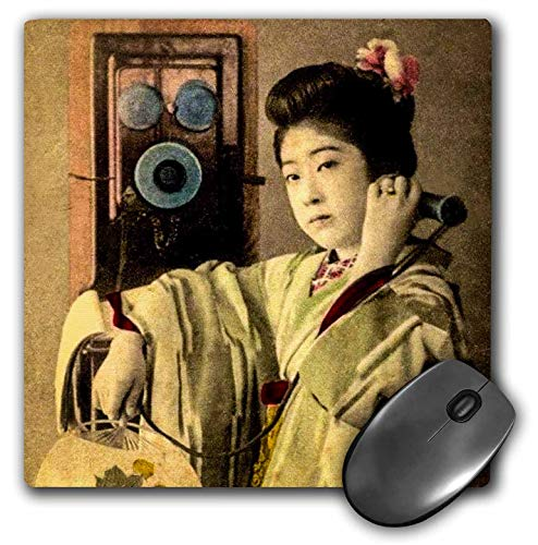 3dRose Scenes from The Past Magic Lantern Slides - Vintage Japanese Geisha in Silk Kimono Making a Long Distance Call - Mousepad (mp_246683_1)
