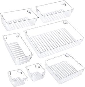 Puroma 7pcs Desk Drawer Organizer Set 4-Size Drawer Tray Dividers Versatile Vanity and Desk Drawer Storage Bins, Customize Layout Organizer Container for Dresser Makeup Kitchen Bathroom Bedroom Office