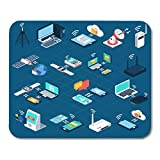 Boszina Mouse Pads Network Technology Wireless Technologies Isometric with Mobile Communication Devices 3D Antenna Tower Mouse Pad for notebooks,Desktop Computers mats 9.5'' x 7.9'' Office Supplies