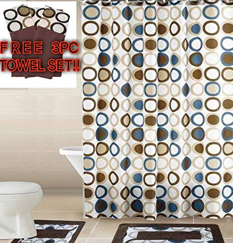 Empire Home 15 Piece Elegant Bathroom Set Bath Rugs Shower Curtain Hooks + Free 3 Piece Towel Set (Brown & Blue Sami) ()