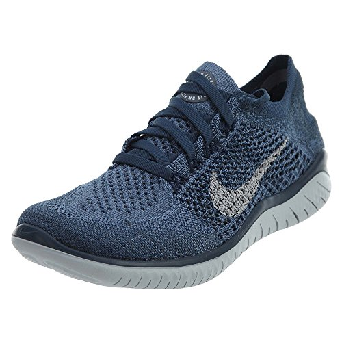 (Nike Women's Free RN Flyknit 2018 Squadron Blue/Pure Platinum-Light Carbon 7.5)