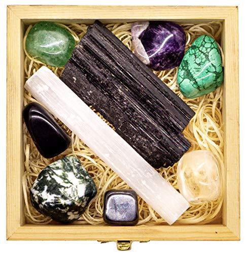 Premium Grade Crystals and Healing Stones for Protection EMF in Wooden Box- Obsidian, Fluorite, Malachite, Hematite, Amethyst, Tree Agate, Quartz, Selenite, Tourmaline Gemstones + Info Guide, Gift Kit