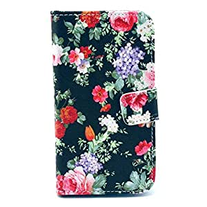 Pacito® Deluxe PU Leather Flip Wallet Case Cover for Motorola Moto X,Premium Moto X Wallet Case with 1 X Stylus (Peony Black Ground)