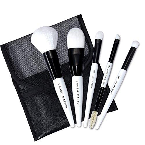 Brush Master Mini Travel Portable Premium Makeup Brush Set Synthetic Kabuki Cosmetics Face Powder Makeup Brush Kit Black with Cosmetic Bag 5Pcs