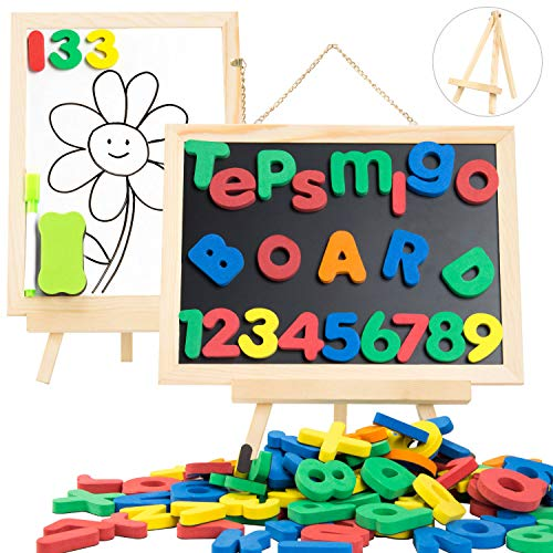 TEPSMIGO Magnetic Letters and Numbers 133 Pcs with Magnetic Easel for Kids - Whiteboard & Chalkboard ABC Megnets Learning Set, Educational Toys for 3 4 5 6 7 8 Years Old