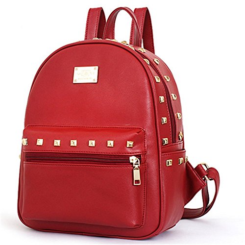 Cherrygoddy Rivets Double Zipper Backpack Shoulders Pu Handbags(4)