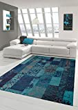 Contemporary rug Design rug Oriental rug Living room rug with check pattern in turquoise blue size 160x230 cm