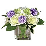 Zinnia and Roses Faux Artificial Flower Arrangement in Glass Vase and Acrylic Water