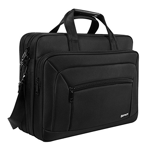 Kopack Laptop Briefcase Expandable Large Capacity 15.6 Inch Laptop Bag Water resistant Scratch-resistant Nylon Shoulder Messenger Bag Black