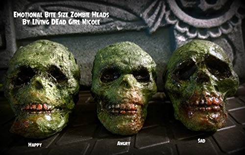 (3 Piece Set - Bite Size Undead Decayed Creepy Zombie Heads Props Decoration Halloween Horror)