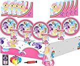 My Little Pony Birthday Decorations Kids Party Tableware 32 Guest Pack Party Plates Cups Napkins Tablecovers - Free 25 Balloons Pump Candles