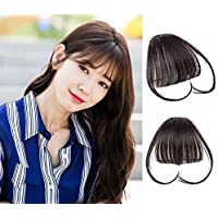 9A 100% Malaysian Virgin Clip in Bangs Human Hair Extensions Flat/Fringe Bangs with Temple LIght and Soft Hand Tied Fashion Hair Extensions for Girls (Clip in Bangs with Temple, 2/Dark Brown)