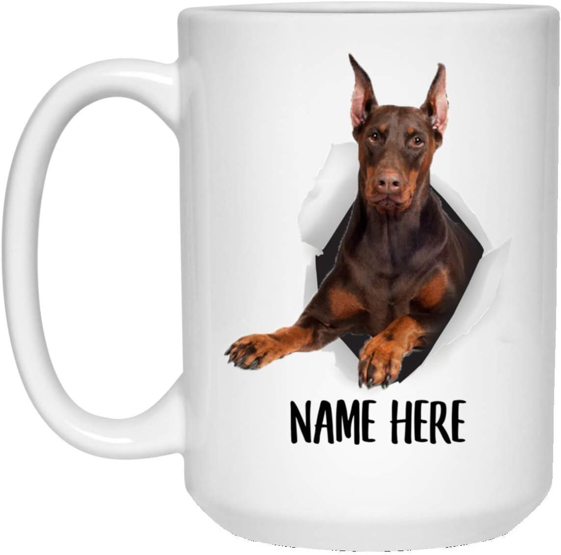 Funny Personalized Name Doberman Pinscher Choco Tan Custom Text Coffee Mug White 15oz Kitchen Dining