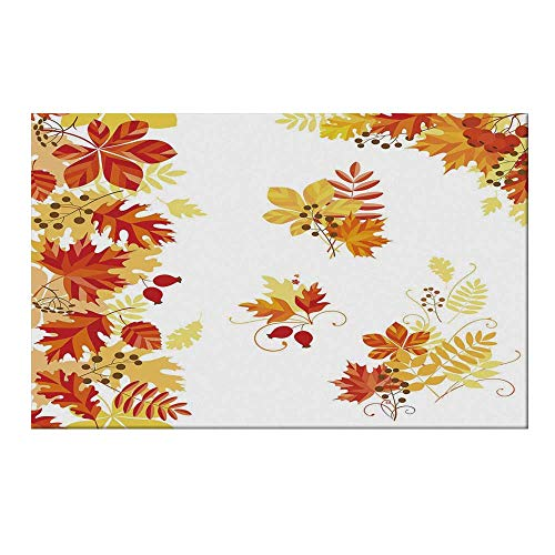 YOLIYANA Fall Durable Door Mat,Autumn Themed Pattern Chestnut Oak Maple Leaves and Berries Corner Design Elements for Home Office,15.7
