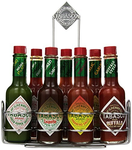 Tabasco Chrome Caddy with 7 Family Flavors [Hot Sale] by Candy Crate