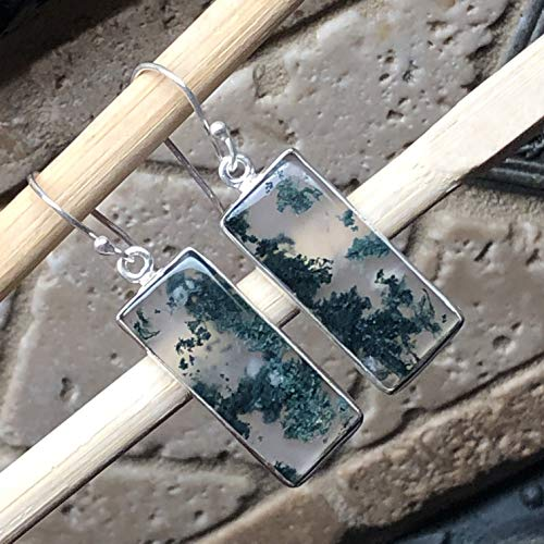 Natural Green Moss Agate 925 Solid Sterling Silver Emerald Shape Earrings 40mm Long