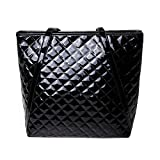 Goodbag Boutique Women Lattice Geometric Pattern Tote Handbag Faux Patent Leather Shoulder Bag Black