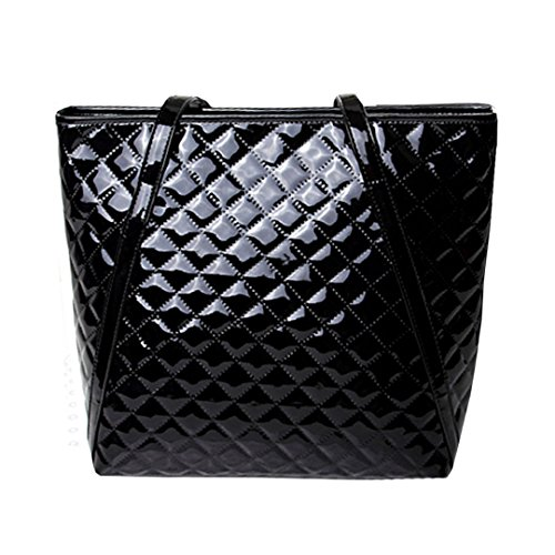 Aisa Women Fashion Top Handle Satchel Handbags Plaid Patent Leather Shoulder Bag Large Capacity Tote Bag (Black) - Leather And Patent Leather Tote Bag
