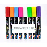 Multi-Purpose 8 Piece 6mm Liquid Marker Chalk Pens – Great for Writing on Whiteboards, Windows, Glass, LED Writing Board with Reversible Nib for Smaller Writing