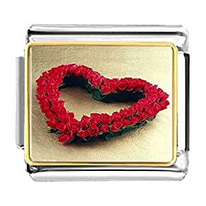Chicforest Gold Plated Cute Heart Red Rose Bracelet Link Photo Italian Charms