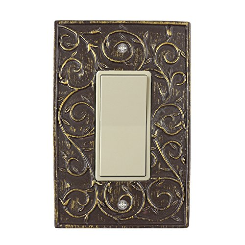 French Bronze (Meriville French Scroll 1 Rocker Wallplate, Single Switch Electrical Cover Plate, Bronze)