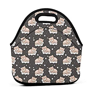 Large Size Reusable Lunch Handbag Kids,Adorable Teddy Bears Sleeping on Clouds with Stars and Dots Night Time Dream, Dark Taupe Tan White,dual lunch bag for girls