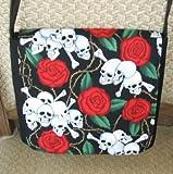 Red Roses Skull Messenger Bag