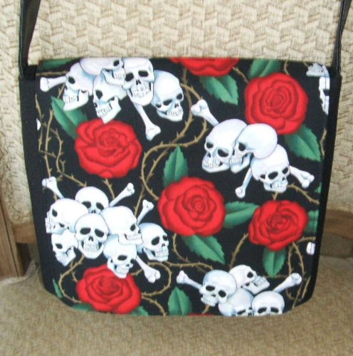 Red Roses Skull Messenger Bag by Gifts and Beads