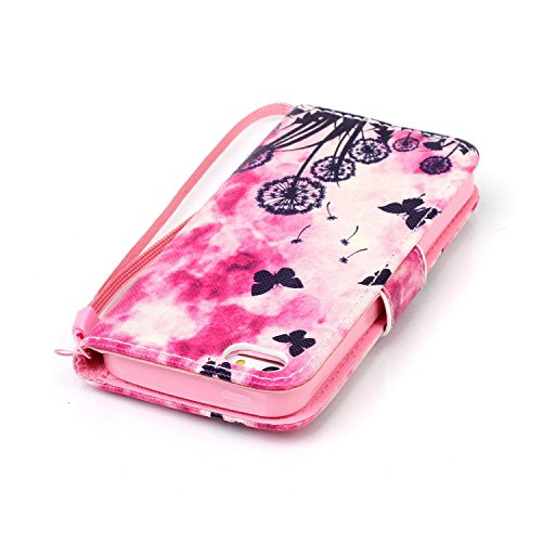 Coque iPhone 5C, iPhone 5C Cuir Portefeuille Coque Housse Etui avec Longe, iPhone 5C Leather Wallet Case Cover with Lanyard, Ukayfe Etui de Protection Case Cover PU Cuir Portefeuille Longe Coque Houss