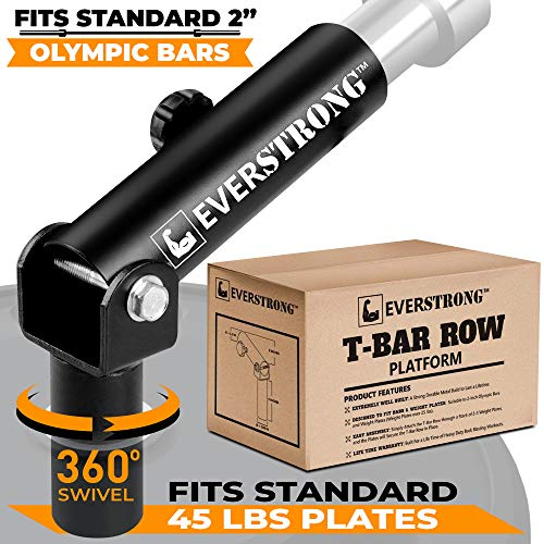 EVERSTRONG T Bar Row Olympic Bars - Gym Equipment for Landmine Attachment - Heavy Duty Steel for Home Fitness Workouts - T-Bar Row for Two Inches Olympic Bar (T Bar Row Attachment For Home Gym)