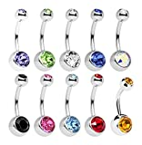 yueton Pack of 10 Stainless Steel Crystal Rhinestone Curved Barbell Navel Belly Ring Button Bar Body Piercing Jewelry