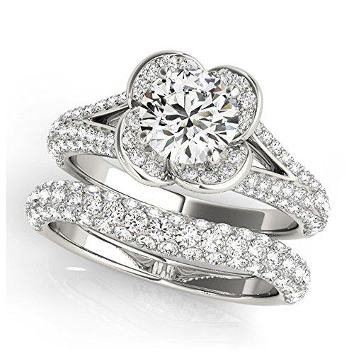 14K White Gold Unique Wedding Diamond Bridal Set Style MT51026